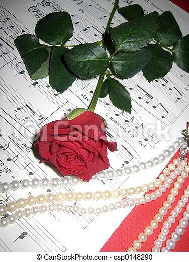 Música y rosa roja - csp0148290