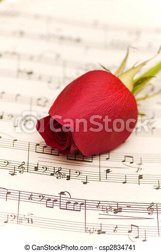 Una rosa roja en la página de notas musicales - csp2834741