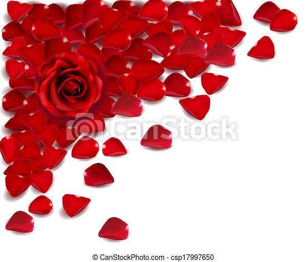 Antecedentes de pétalos de rosa roja. Vector - csp17997650