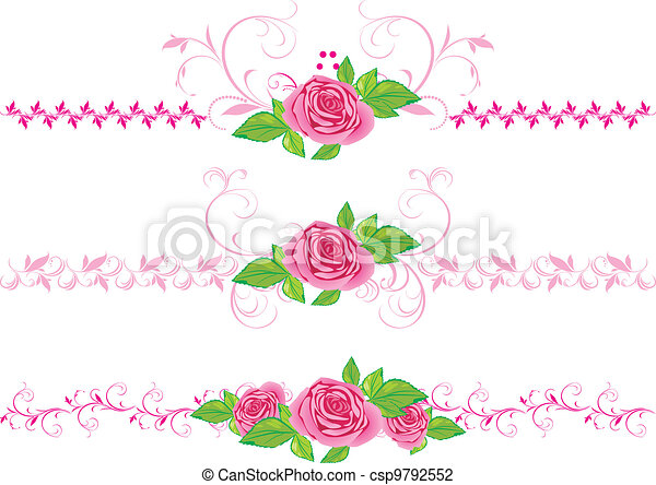 Rosas rosas con adornos - csp9792552