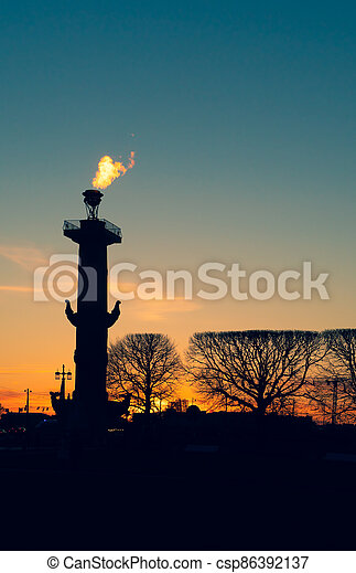 rostral, columna, saint-petersburg- - csp86392137