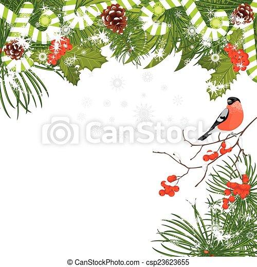 Árbol de Navidad con ramas de Rowan - csp23623655