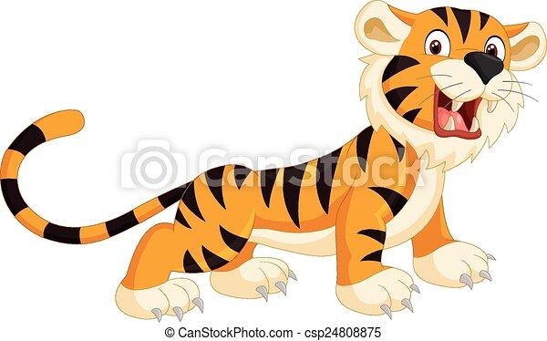 Lindo dibujo animado del tigre rugiendo - csp24808875