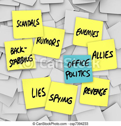 Los rumores de los escándalos políticos de la oficina son chismes - csp7394233