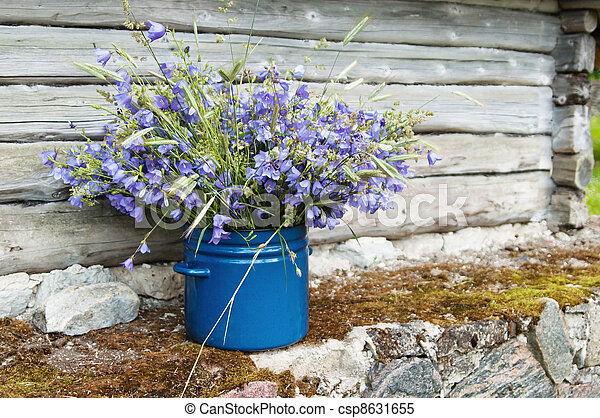 Bouquet de flores de campo en medio del paisaje rural - csp8631655