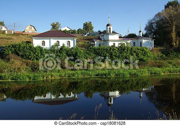 Un paisaje rural con un río en Bykovo, Rusia - csp18081628