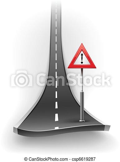 Ruta de asfalto con señal de advertencia - csp6619287