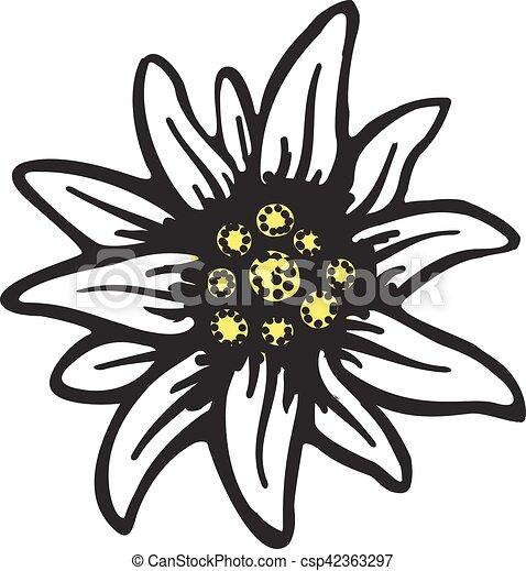 El símbolo floral de Edelweiss alpinismo alps logo alemán - csp42363297