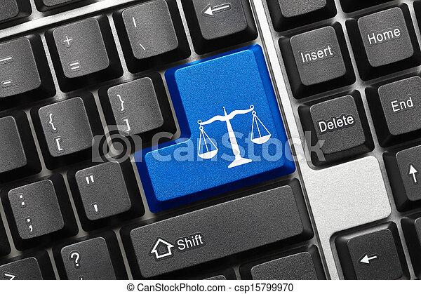 Teclado conceptivo - símbolo de la ley (llave azul) - csp15799970