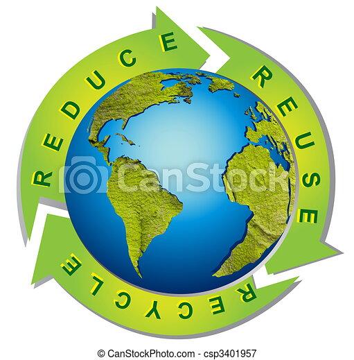 Un ambiente limpio, un símbolo de reciclaje conceptual - csp3401957