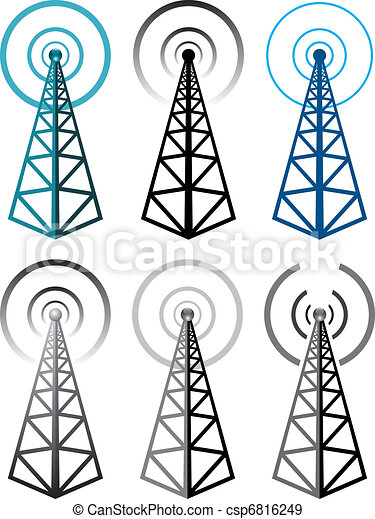 Un conjunto de símbolos de la torre de radio - csp6816249