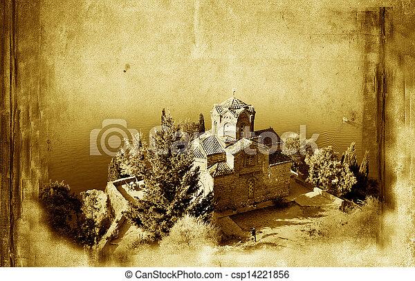 Iglesia de San Juan en Kaneo, y antecedentes viejos de papel grunge - csp14221856