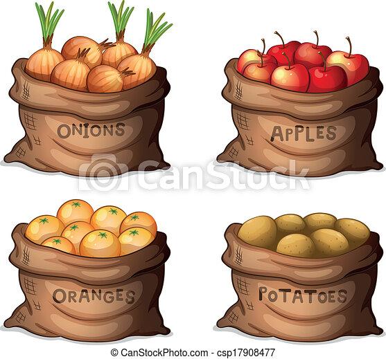Sacos de frutas y cultivos - csp17908477