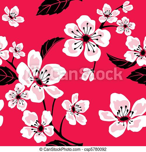 Patrón de flores de Sakura - csp5780092