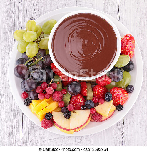 Salsa de chocolate y frutas - csp13593964