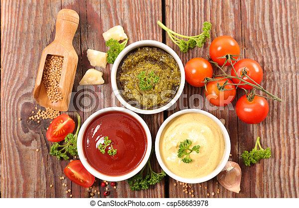 Salsa variada e ingrediente - csp58683978