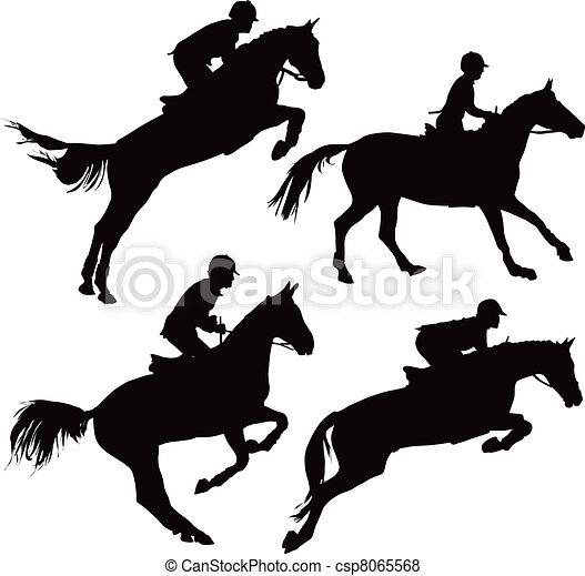 Saltando caballos con jinetes - csp8065568