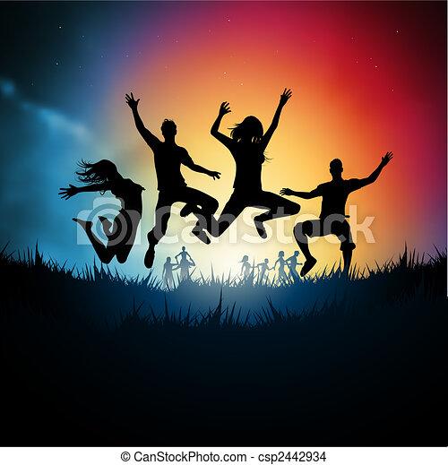 Los jóvenes saltarines - csp2442934