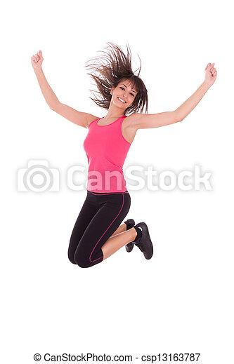 Pésima pérdida, mujer en forma saltando de alegría - csp13163787