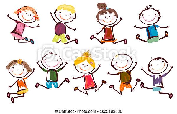 Niños saltando - csp5193830
