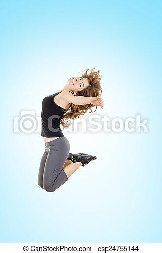 Pierde peso, mujer en forma, saltando de alegría - csp24755144