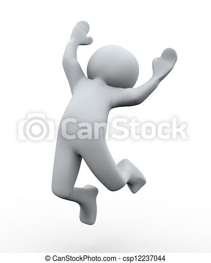Tercera persona feliz salto - csp12237044