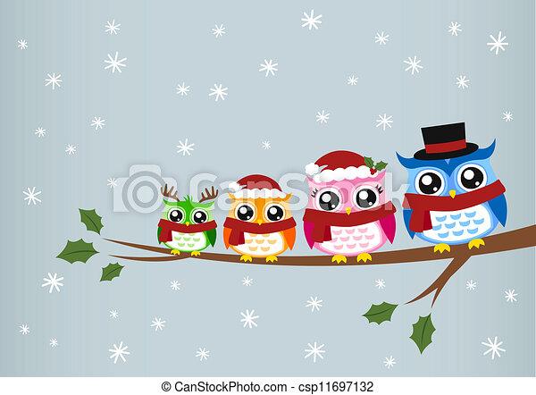 Saludos de Navidad de la familia Owl - csp11697132