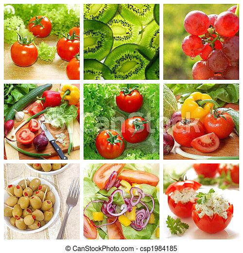 Vegetales saludables y collage de comida - csp1984185