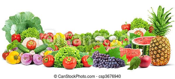 Coloridas y saludables frutas frescas y vegetales - csp3676940