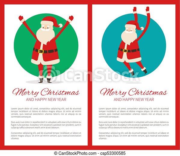Feliz Navidad feliz poster de año nuevo con Santa - csp53300585