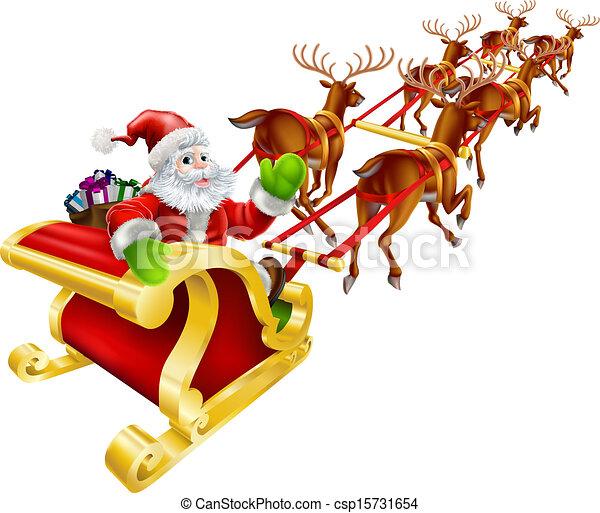 Santa Claus de Navidad volando en trineo - csp15731654