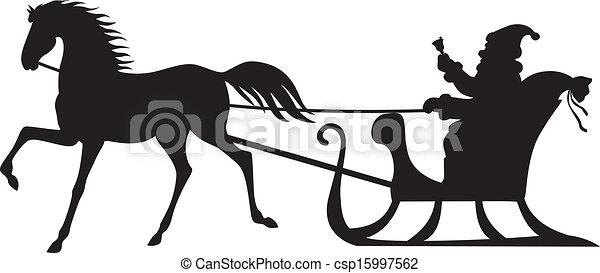 Santa Claus montando en un trineo de caballos - csp15997562