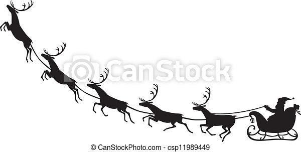 Santa Claus montando en un trineo de renos - csp11989449