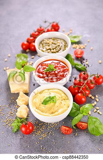sauce-, mayonesa, variado, salsade tomate, mostaza, pesto - csp88442350