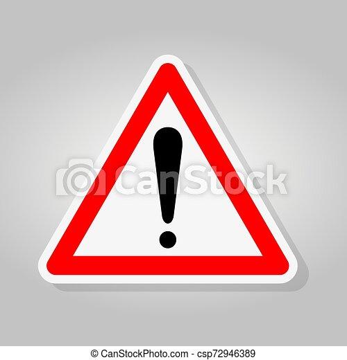Señal de alerta aislante de fondo blanco, ilustración de vectores - csp72946389