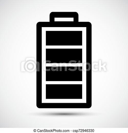 Señal de icono de batería aislada en antecedentes blancos, ilustración de vectores - csp72946330