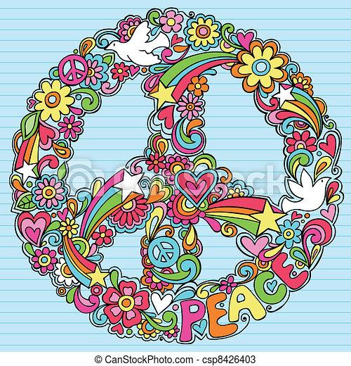 Un signo de paz, paloma garabatos psicodélicos - csp8426403