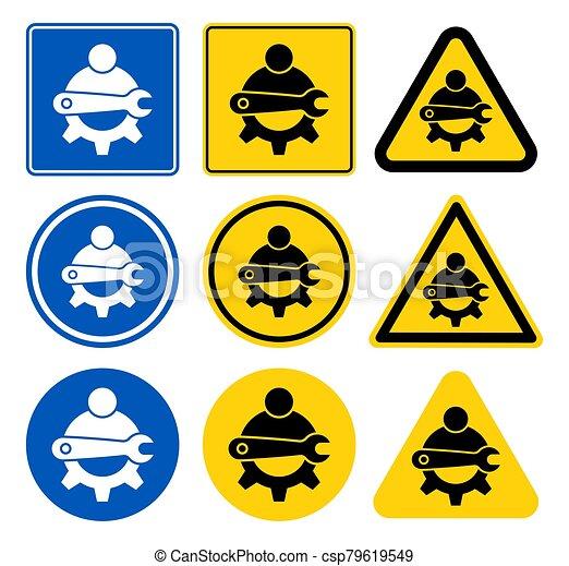 señal, símbolo, ilustración, aislar, icono, mantenimiento, técnico, vector, plano de fondo, blanco - csp79619549