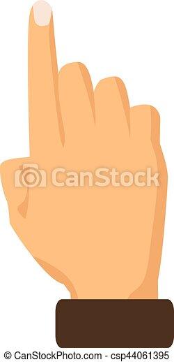 Señalando con el dedo índice un fondo blanco. Ilustración de vectores - csp44061395