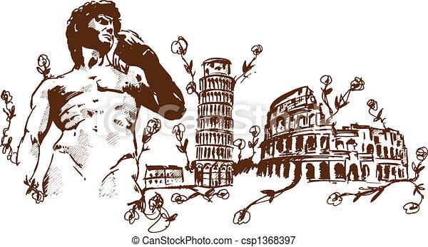 Marcas italianas ilustradas - csp1368397