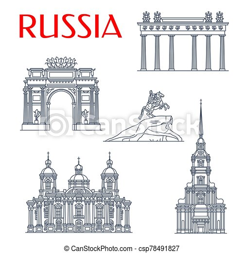 señales, santo, petersburg, ruso, arquitectura - csp78491827