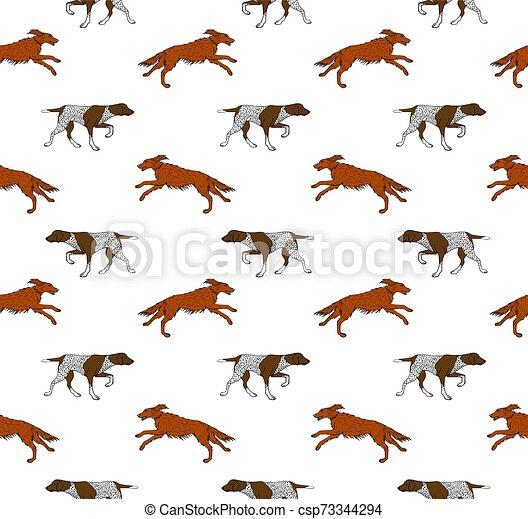 seamless, perro, vector, patrón, caza - csp73344294