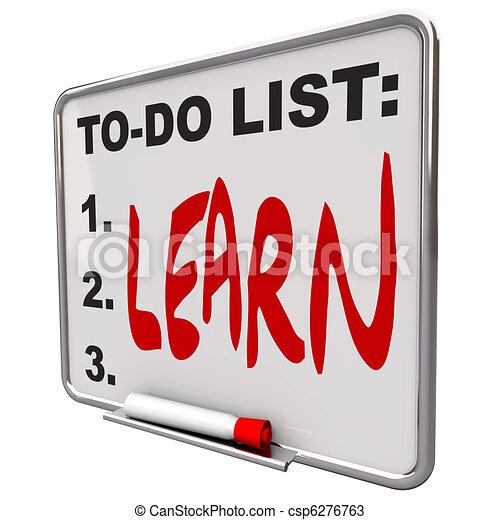 Lista de tareas - aprender - pizarra de borrado - csp6276763
