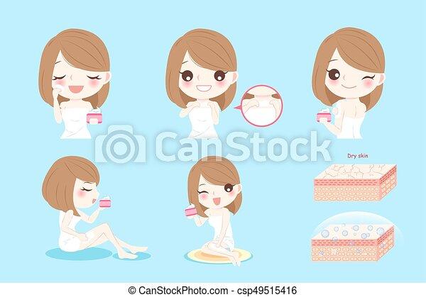 Mujer con piel seca - csp49515416