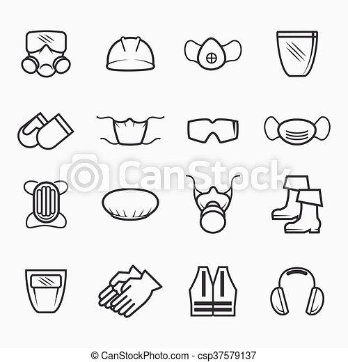 Seguridad ocupacional y iconos de salud - csp37579137