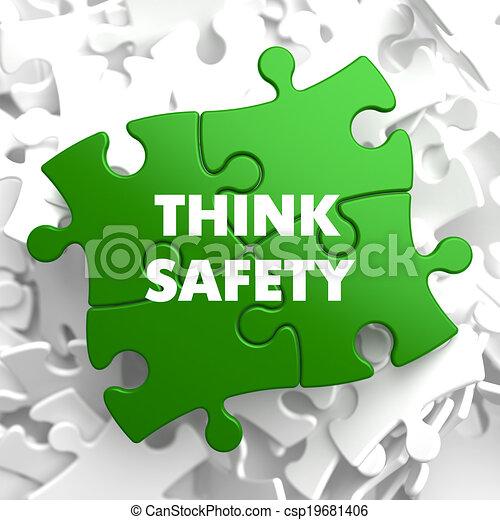 Piensa en la seguridad del rompecabezas verde. - csp19681406