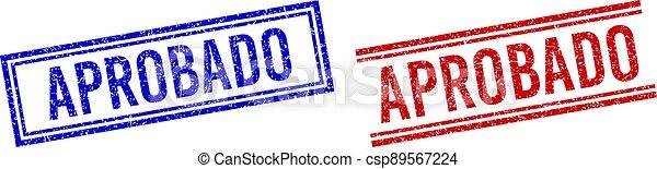 sellos, textured, caucho, doble, líneas, aprobado - csp89567224