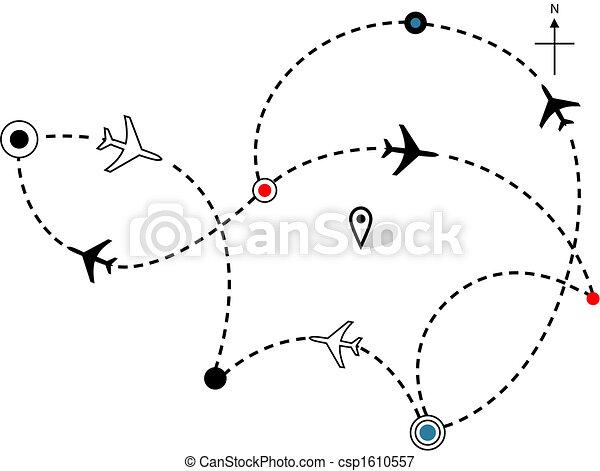 Patrones de vuelo de avión de línea aérea, mapa de los planes de viaje - csp1610557