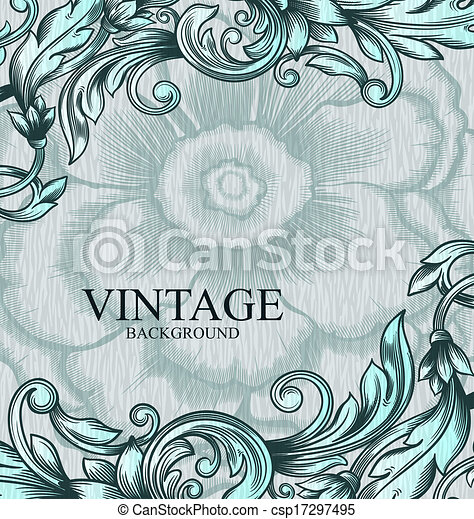 Un patrón antiguo de vector. Trasfondo abstracto dibujado a mano. Puede usarse como invitación, tarjeta de boda, recortes y otros. Diseño de vectores reales. - csp17297495