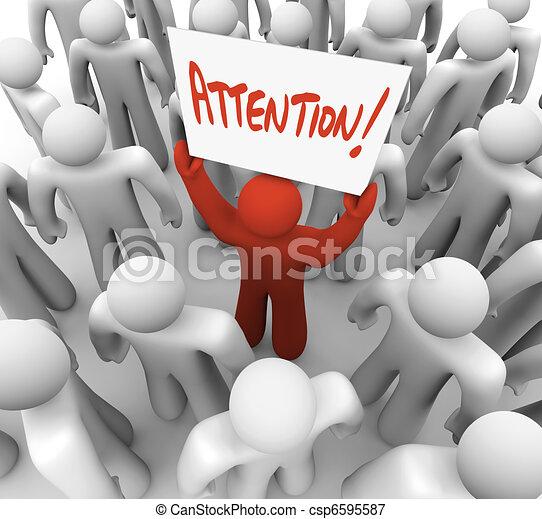 Personas que tienen señal de atención en la multitud para ser reconocidas - csp6595587